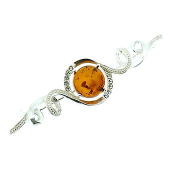 Broches winkel Amber steen en Sterling Zilver Swirl Bar Brooch
