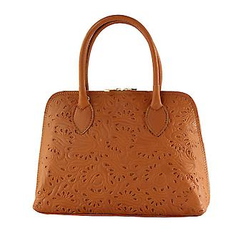 CTM ladies handbag genuine leather handbag with floral pattern, made in Italy