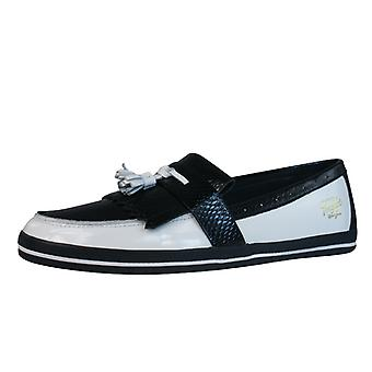 Penguin Birdie Mens Leather Moccasin Shoes - White & Black
