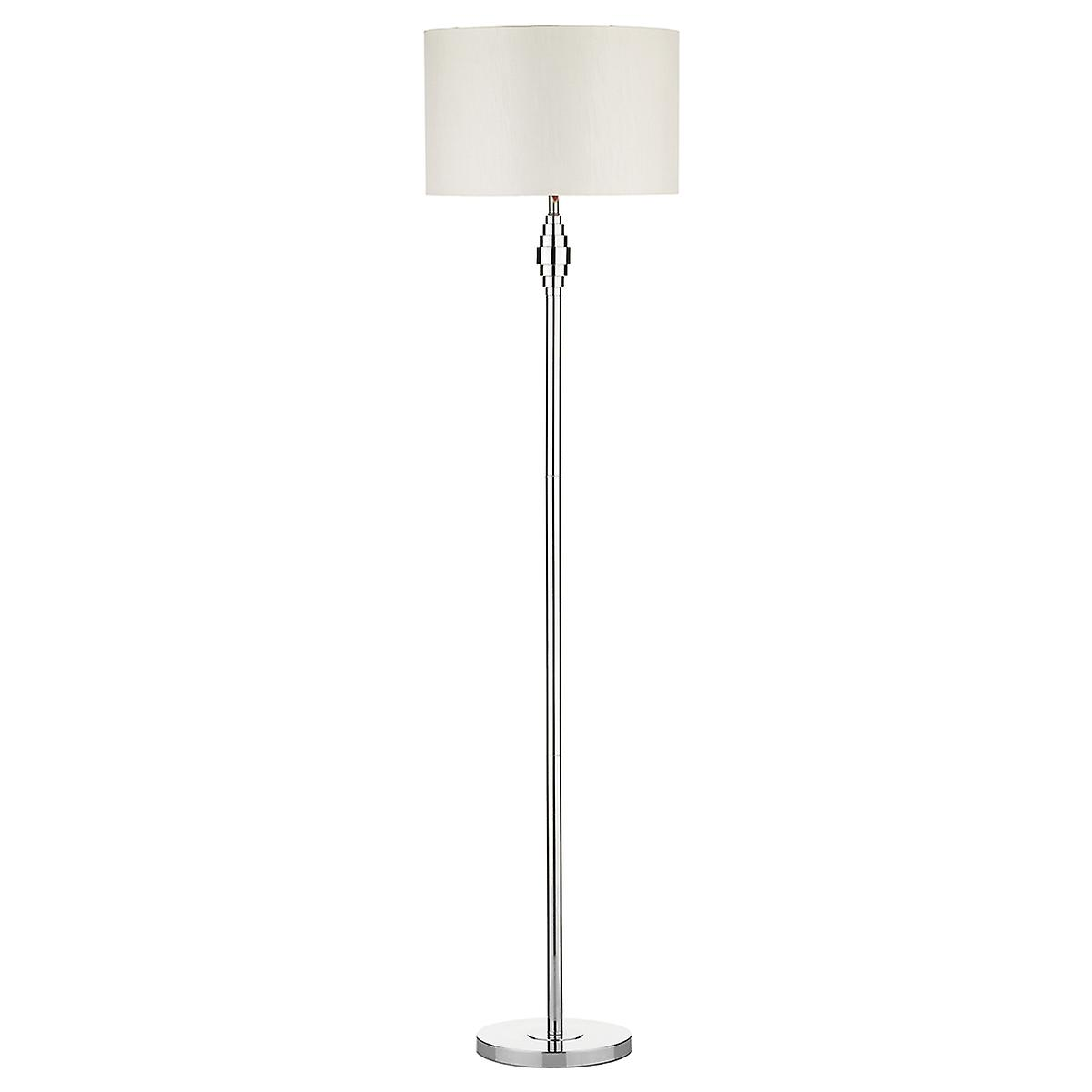 Dar ADO4950 Adonis Modern Floor Lamp With White Faux Silk Drum Shade