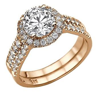 Moissanite Ring Forever One 1.50 CTW 6.50MM with Diamonds 14K Rose Gold Halo Double Shank Round