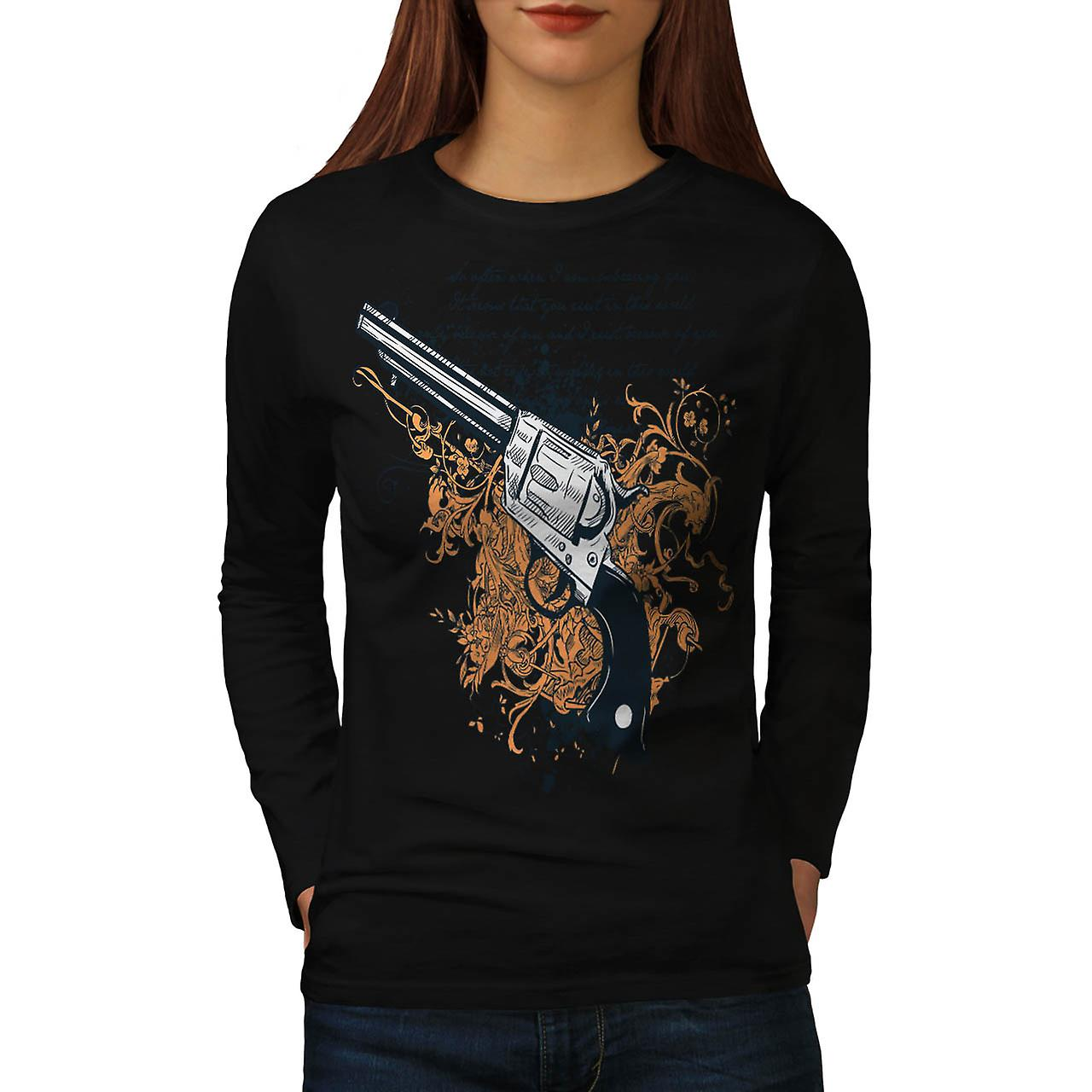 Arme mortelle pistolet Gun Battle femme Black T-shirt manches longues | Wellcoda