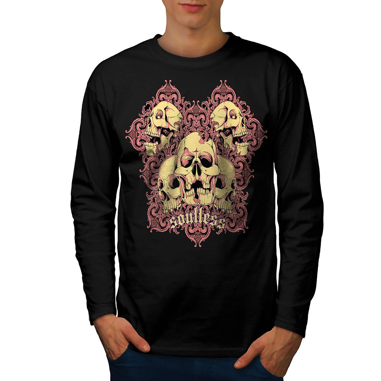 Soul Less Ghost Skull Grave Yard Men Black Long Sleeve T-shirt | Wellcoda