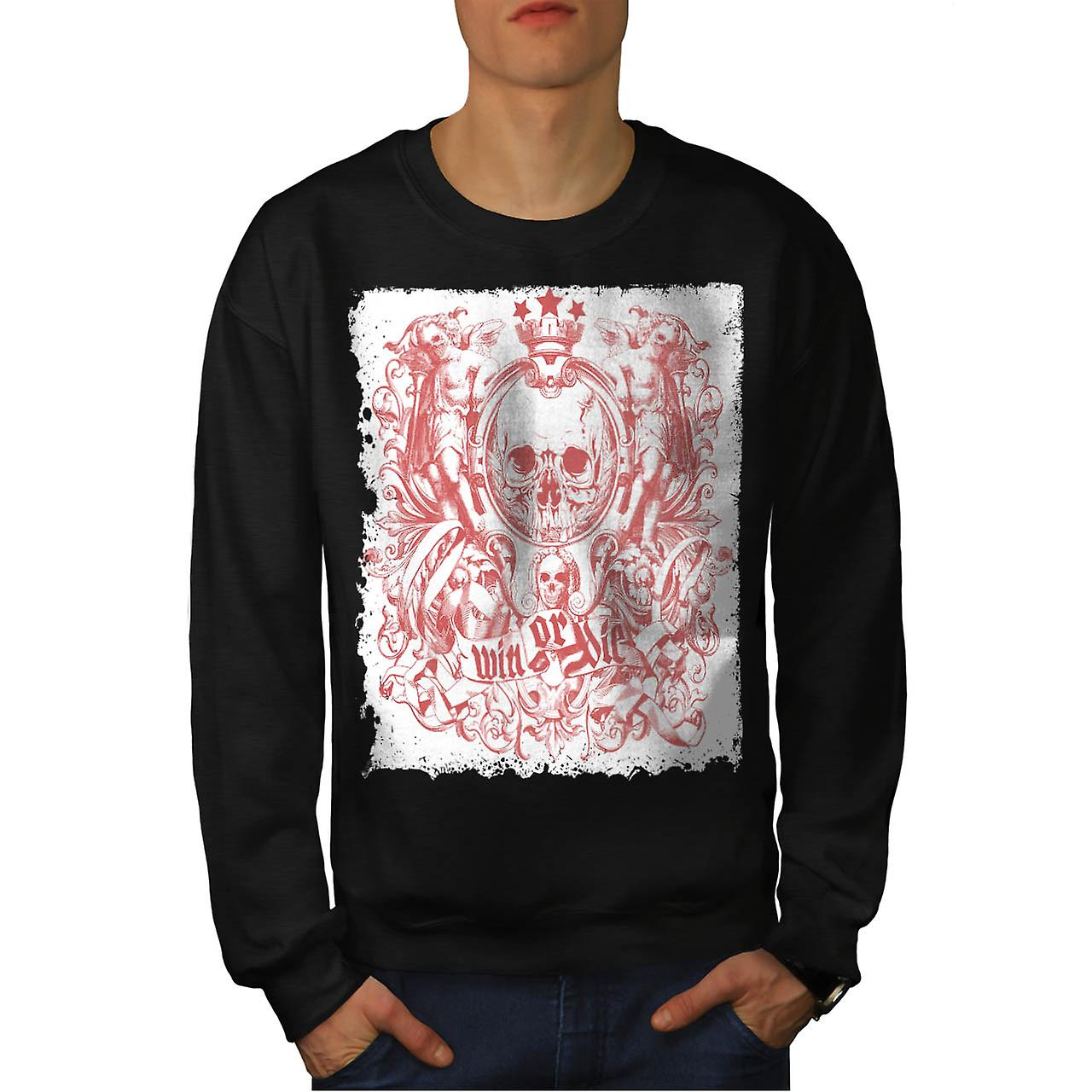 Win Die Death Skull Royal Crown Men Black Sweatshirt | Wellcoda
