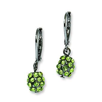 Black-plated Green Crystal Fireball Leverback Earrings