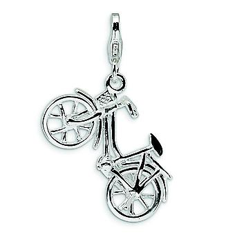 Sterling Silver Moveable Rhodium-plated Fancy Lobster Closure 3-D Enameled Bicycle With Lobster Clasp Charm - Measures 3