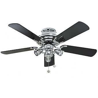 Ceiling Fan Mayfair Combi polished chrome with light 107 cm / 42