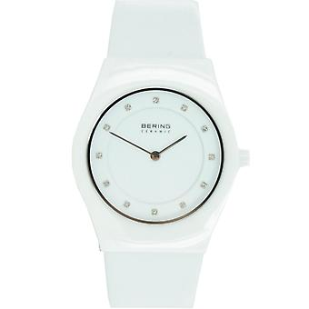 Bering ladies slim ceramic - 32035-659 leather wristwatch watch