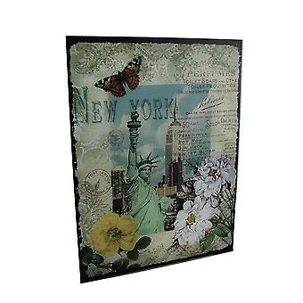 Decorative New York Statue of Liberty Floral Glass Wall Hanging
