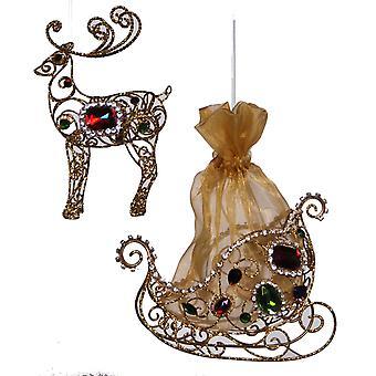 Jeweled North Pole Reindeer and Santas Sleigh Ornaments Set of 2