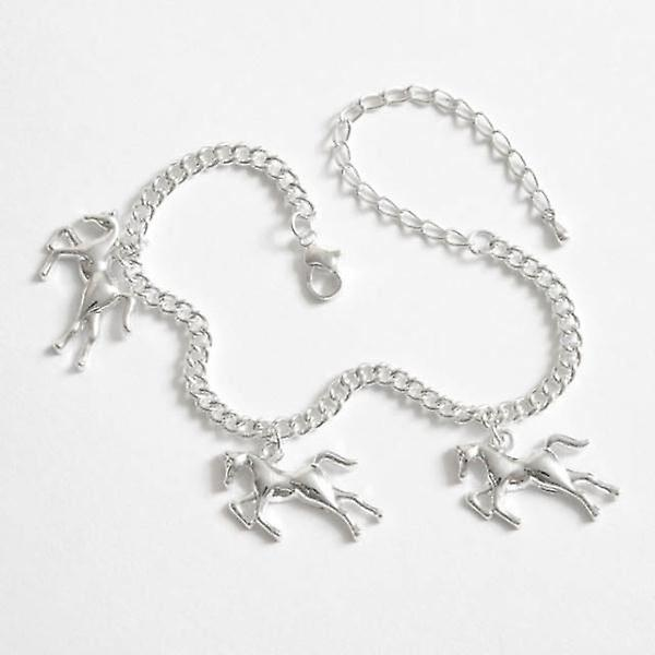 Horse theme charm bracelet with 3 horse charms