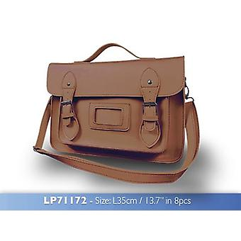 Brown Satchel Vintage & Retro Bag with Shoulder Strap and Handle