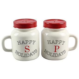 Murer krukke rød og hvid glade ferie Salt og peber Shakers keramik