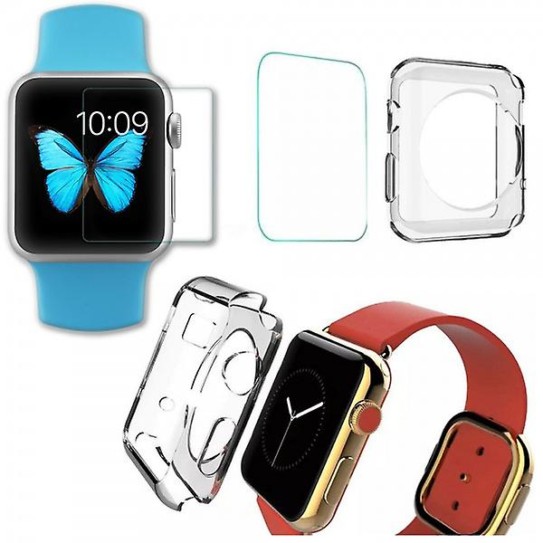 Tempered glass H9 + silicone case transparent Apple watch 38 mm