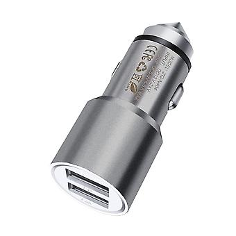 ONX3 (Grey) Quick Charge Dual Port USB Full Metal Car Charger With LED Indicator 3.1A 24W Safety Hammer For Blackberry Dtek60