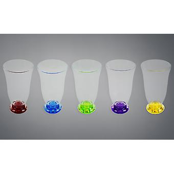 Drinks Tumbler Set of 5 Clear Glasses with Coloured Base Plastic Party Home BBQ