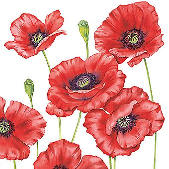 Ambiente 3 Ply Paper Lunch Napkins, Romantic Poppy