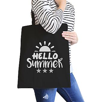Hello Summer Sun Black Heavy Cotton Portable Canvas Shoulder Bag