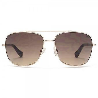 SUUNA Porto Classic Square Pilot Sunglasses In Shiny Light Gold