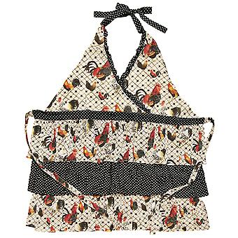 Pretty Roosters Ruffled Triple Tiered Kitchen Apron