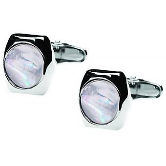 denisonboston Skimm Classic Mother of Pearl Cufflinks - Silver