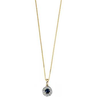 Elements Gold Skylight 9ct Gold Sapphire and Diamond Round Cluster Pendant - Blue/Gold
