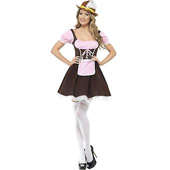 Smiffys Tavern Girl Costume Brown Short Dress With Attached Apron (Costumes)