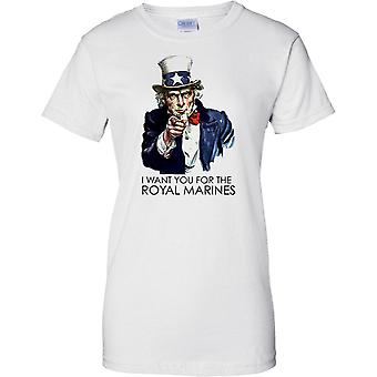 I Want You For The Royal Marines - Cool Recruitment Poster - Ladies T Shirt
