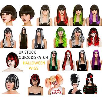 Halloween Adults Fancy Dress Wig Accessory Dead Witch Vampire Zombie Ghost Devil