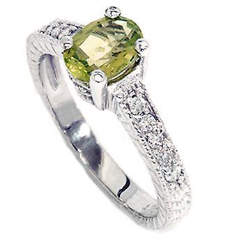 3/4ct Oval Peridot Diamond Anniversary Engagement Ring