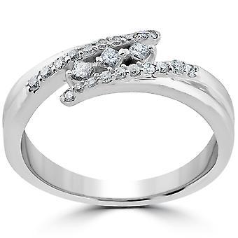 1/5 CT. Cut księżniczki diamentowych 3 kamienne zaangażowania rocznica Ring 10k białe złoto