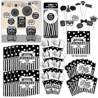 Birthday party set XL Black White 72-teilig for 8 guests s-w design decoration party package