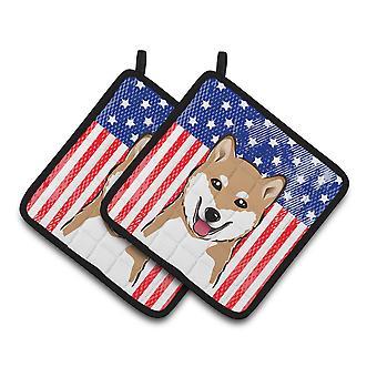 Bandera americana de BB2155PTHD de tesoros de Carolines y Shiba Inu par de agarraderas