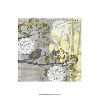 Serene Bird & Branch II Poster Print by Jennifer Goldberger (13 x 19)