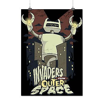 Matte or Glossy Poster with Invaders Space Robot Geek | Wellcoda | *d125