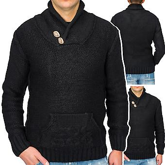 Men's pullover sweater Fanny Pack Norwegian sweater knit funnel - neck