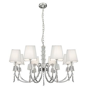 Portico Chrome With Glass And Crystal Eight Light Ceiling Light With Shades - Searchlight 6888-8cc