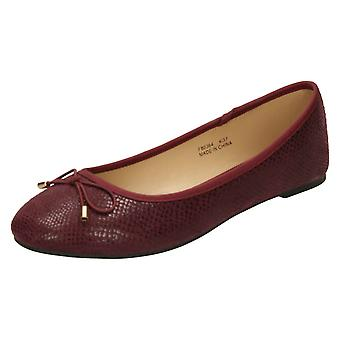 Ladies Spot su Bow Trim ballerine F80364-Borgogna in microfibra - misura UK 8 - misura EU 41 - US dimensione 10