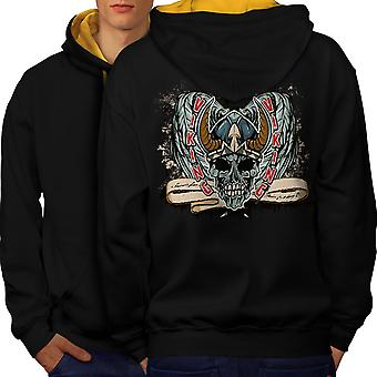 Mort Viking Zombie Skull hommes noir (capot or) contraste Hoodie dos | Wellcoda