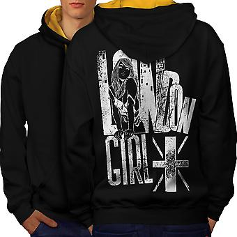 Girl Slogan Flag London Men Black (Gold Hood)Contrast Hoodie Back | Wellcoda