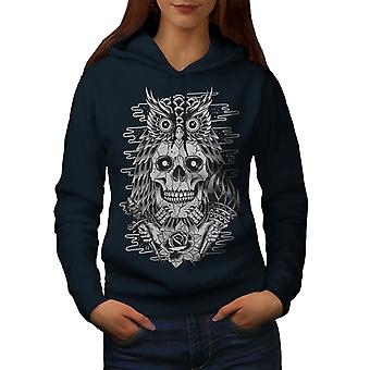 Owl Face Head Dead Skull Women NavyHoodie | Wellcoda