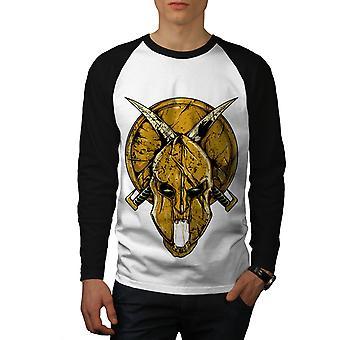 Gladiator Blood Horror Men White (Black Sleeves)Baseball LS T-shirt | Wellcoda