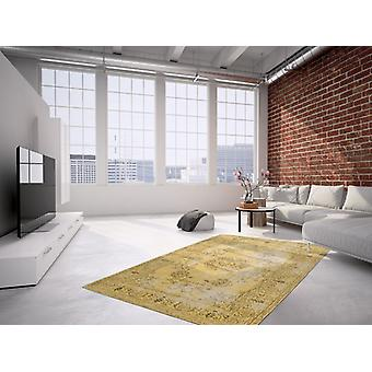 MODERN RUGS HAND-WOVEN FLAT PILE BORDER RETRO VINTAGE USED LOOK GOLD
