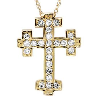 1/2ct Diamond Cross Pendant 14K Yellow Gold 3/4