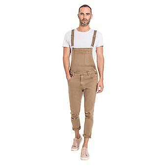 Mens Slim Fit Dungarees - Light Brown Detachable Bib and Straps