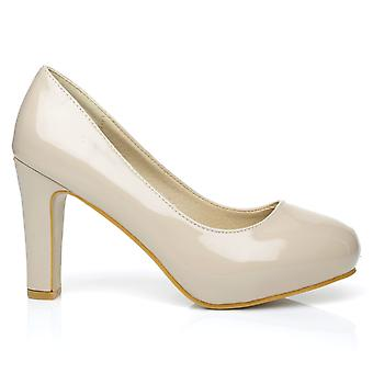 LOVE Nude Patent PU Leather Slim-Block High Heel Platform Court Shoes