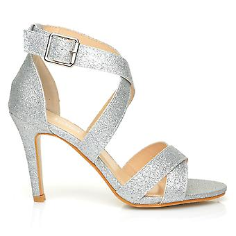 SOPHIE Silver Glitter Strappy High Heel Sandals
