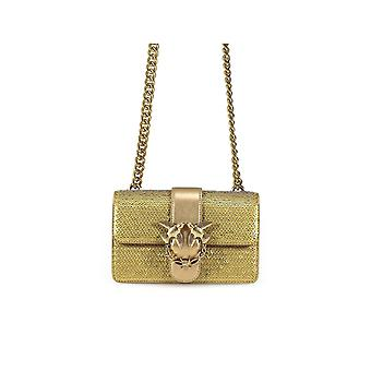 PINKO GOLD SEQUINS AND LEATHER MINI LOVE BAG