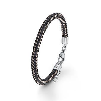 s. Oliver gioiello mens cuoio nero marrone Bracciale in acciaio SO1459/1 - 566759