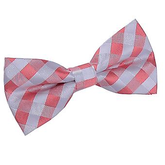 Coral Gingham Check Bow Tie